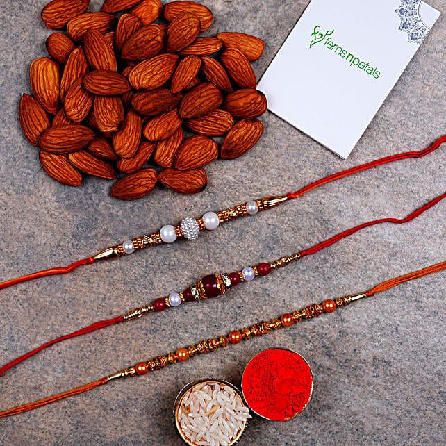 Set Of 3 Designer Rakhis And Almonds
