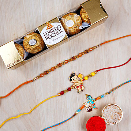 Set of 3 Pearl And Kids Rakhi With Rochers