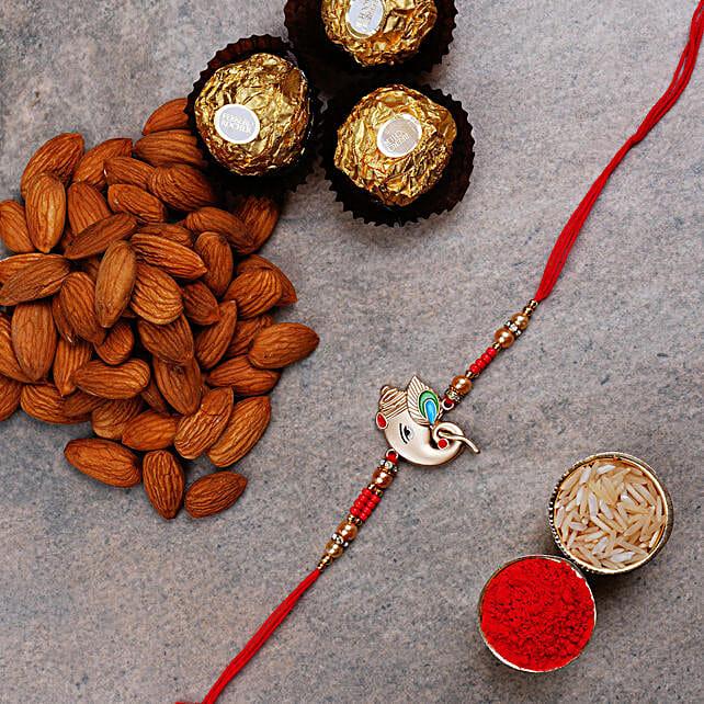 Silver Ganesha Rakhi And Ferrero Rocher Combo