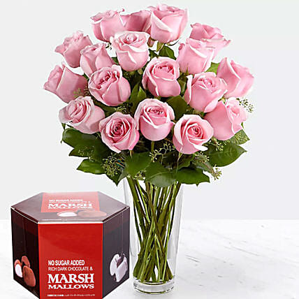 Pink Roses And Sugar Free Marshmallow Chocolate