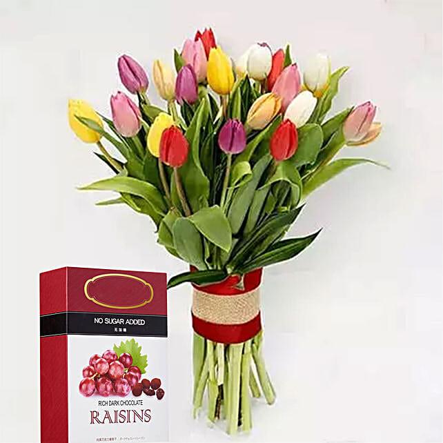 Vibrant Tulips Bunch And Dark Chocolate