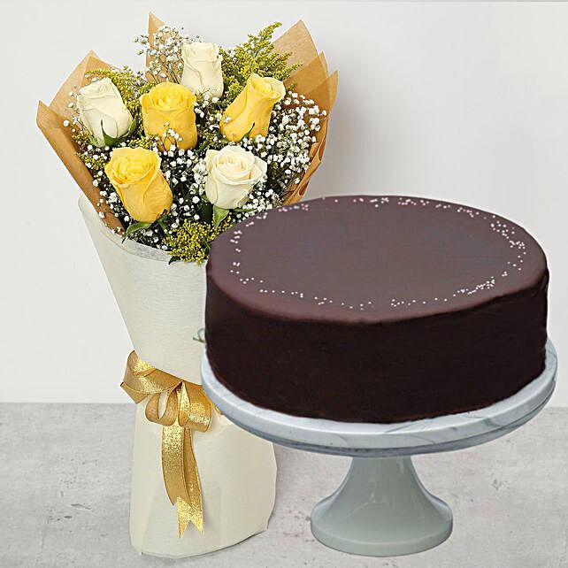 Chocolate Rainbow Cake & Happy Roses Bouquet