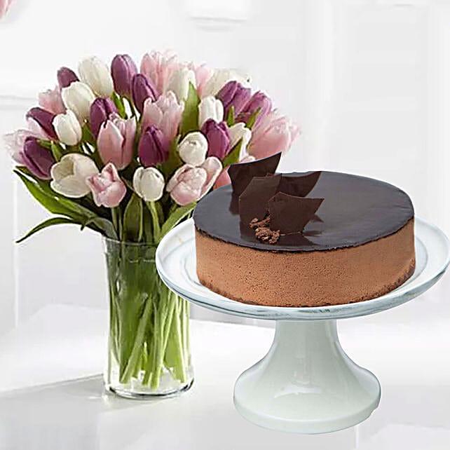 Divine Chocolate Cake & Soft Coloured Tulips