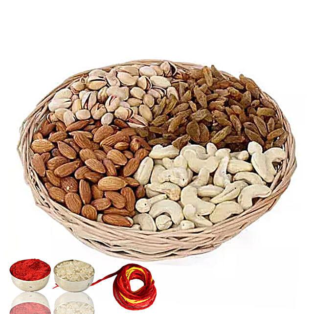 One Kg Dry Fruits Basket With Moli & Roli Chawal For Bhaidooj:bhai dooj dry fruits