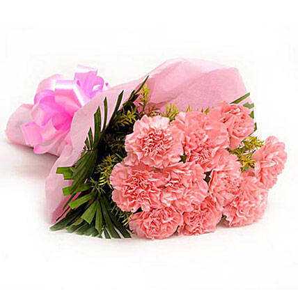 Pretty Pink Carnations Bouquet:Send Carnation Flower to Singapore