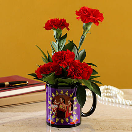 beautiful Red Carnations Bunch In Black Personalised Mug