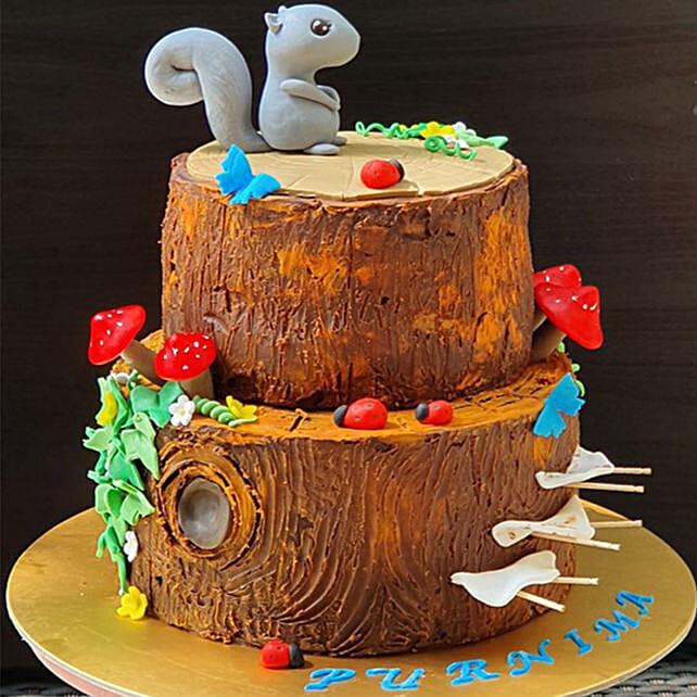 Squirrel Cartoon Chocolate Cake