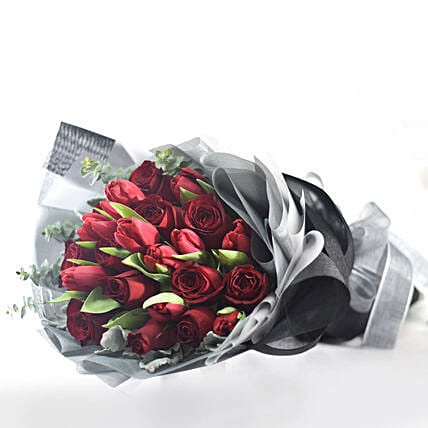 Gracefully Yours Roses & Tulips Bouquet