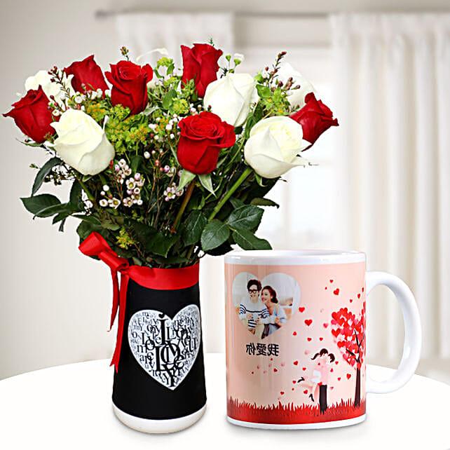 Ravishing Flowers with Personalised Mug