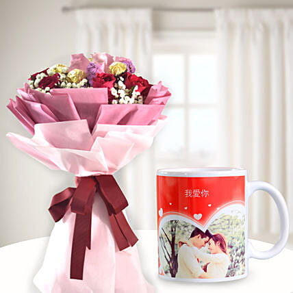 Simply Perfect Chocolatey Flower Bouquet with Personalised Mug