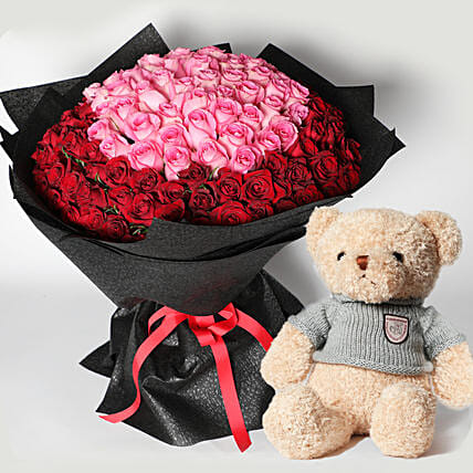 Teddy and 150 Roses Bouquet
