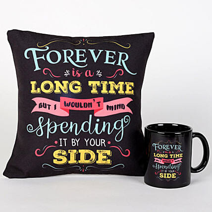 Forever By Your Side Printed Cushion And Mug Combo:Send Valentines Day Gifts to Singapore