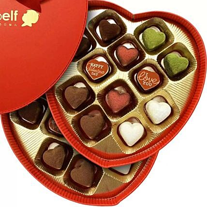 Love Truffles in Heart Box:Valentines Day Chocolates to Singapore
