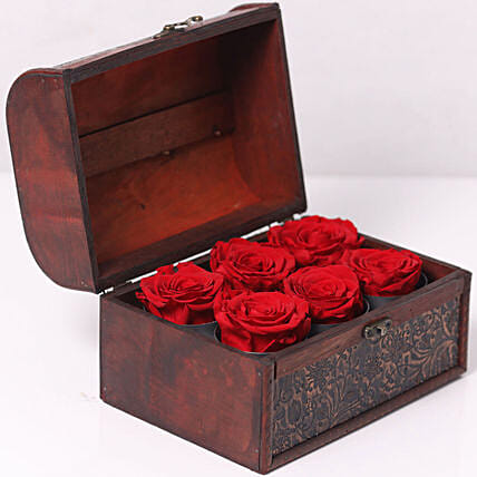 6 Red Forever Roses In Treasure Box for Valentines