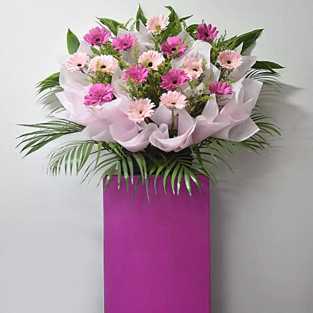 Light And Dark Pink Gerberas Flower Stand