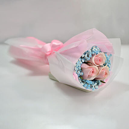 Lovely Pink Rose & Baby Breath Bouquet