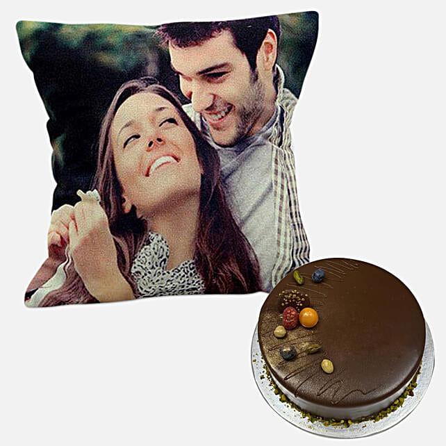 Chocolate Cake with Personalised Cushion:Send Cushion to Singapore