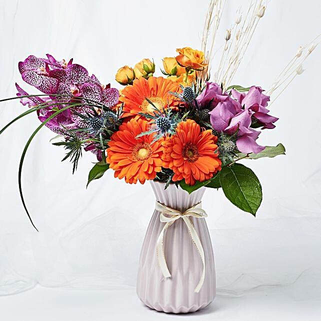 Blissful Mixed Flowers Purple Vase Arrangement