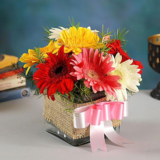 8 Petite Mixed Gerbera Floral Vase