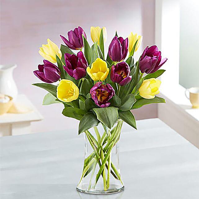 Blissful Mixed Tulips Glass Vase Arrangement:Mid Autumn Gifts