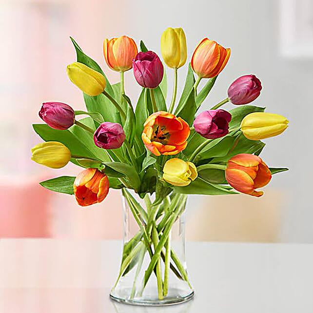 Heavenly Multicoloured Tulips Vase
