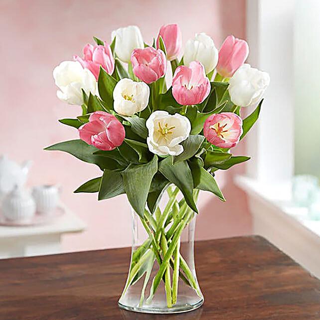 Serene Mixed Tulips Glass Vase Arrangement