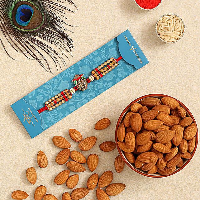 Auspicious Kalash Rudraksha Rakhi And Healthy Almonds:Rudraksha Rakhi to Singapore
