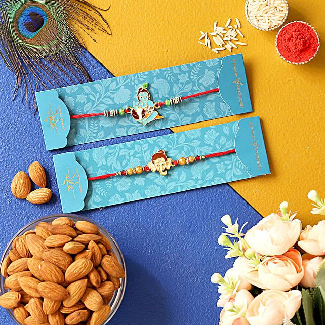 Bal Krishna & Ganesha Face Rakhis With Almonds