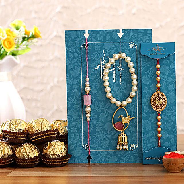 Bird Lumba Rakhi Set & Om Rakhi With Ferrero Rocher