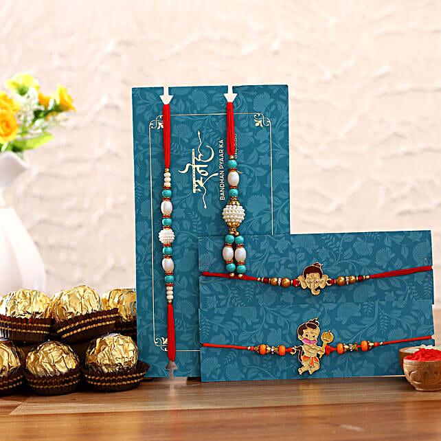 Blue Lumba Rakhi Set & Kids Rakhi With Ferrero Rocher