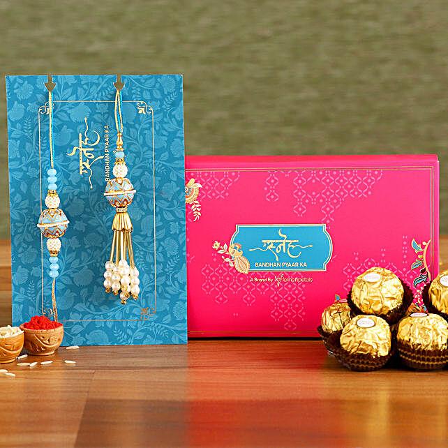 Blue Orb Pearl And Lumba Rakhi Set With 3 Pcs Ferrero Rocher:Send Ethnic Rakhi to Singapore