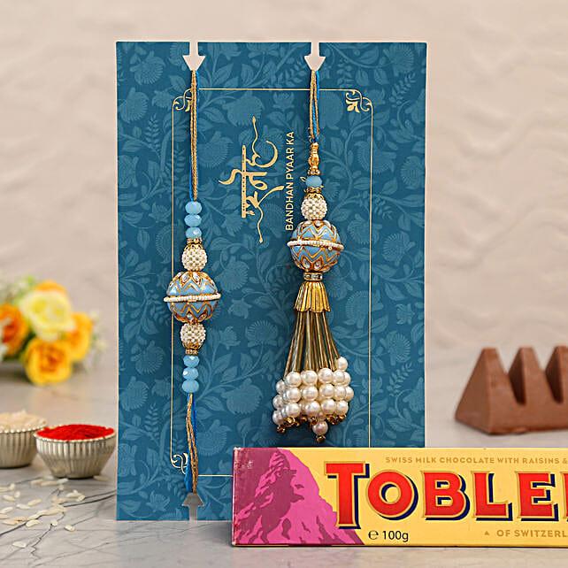 Blue Orb Pearl And Lumba Rakhi Set With Toblerone Chocolate:Designer Rakhi to Singapore