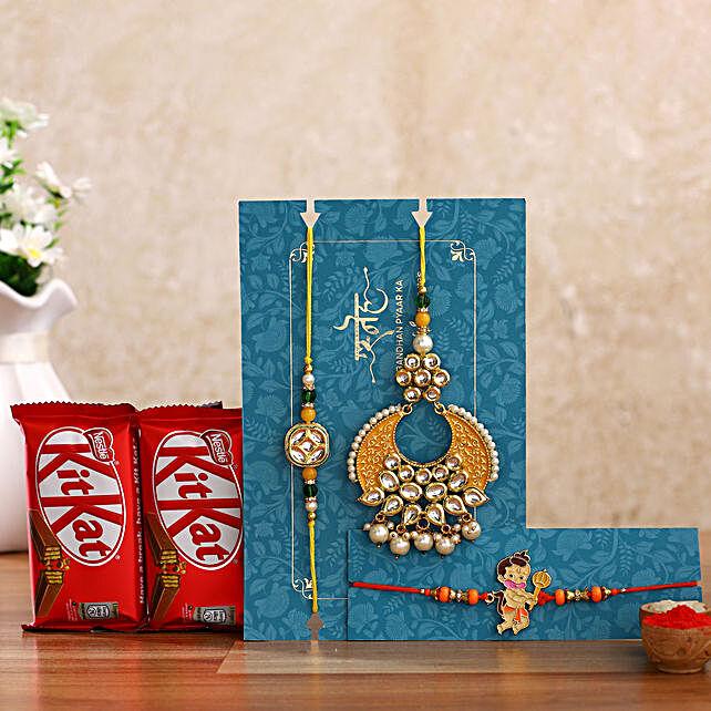 Crescent Lumba Rakhi Set & Kids Rakhi With Kitkat