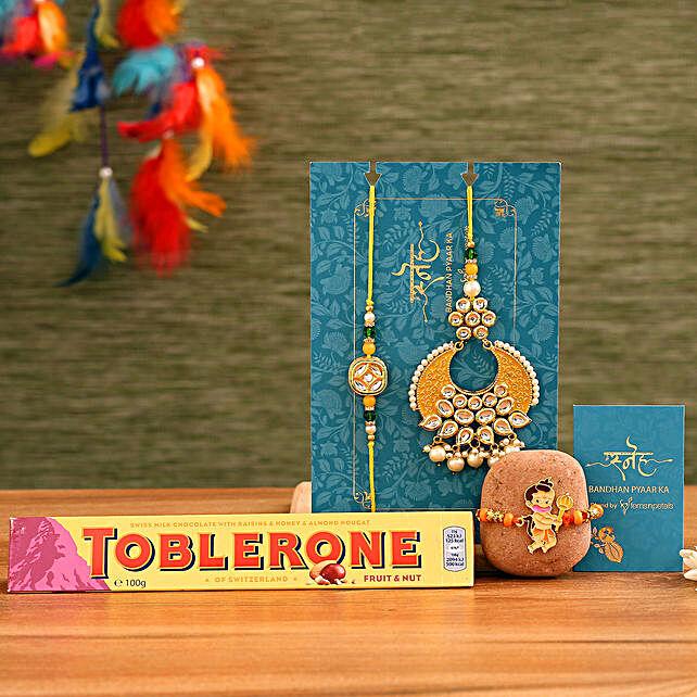 Crescent Lumba Rakhi Set & Kids Rakhi With Toblerone