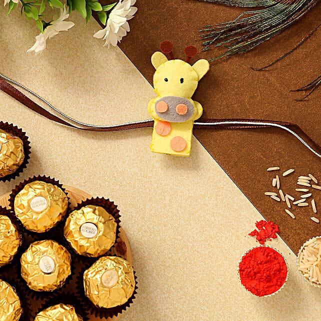 Cute Giraffe Shaped Kids Rakhi And 3 Pcs Ferrero Rocher