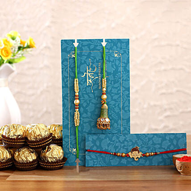 Green Lumba Rakhi Set & Kids Rakhi With Chocolates
