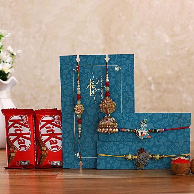 Jhumki Lumba Rakhi Set & Kids Rakhi With Kitkat