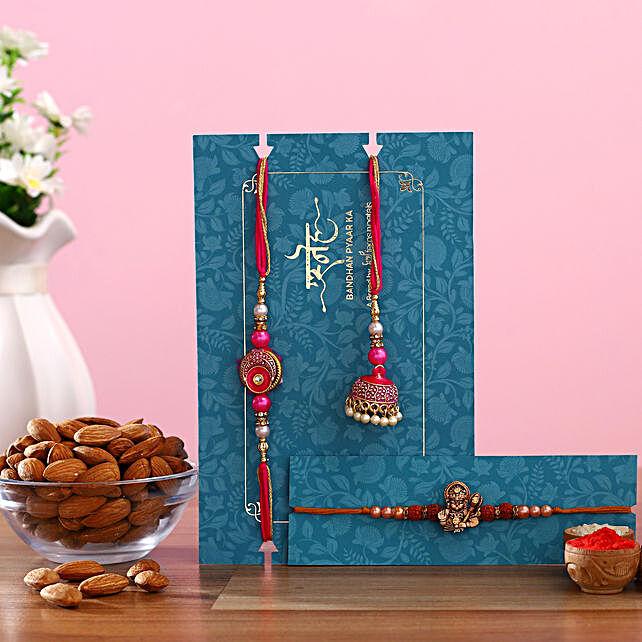 Meenakari Lumba Rakhi Set & Rudraksha Rakhi With Almonds
