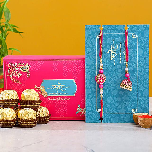 Meenakari Pearl Lumba Rakhi Set With 3 Pcs Ferrero Rocher:Send Ethnic Rakhi to Singapore