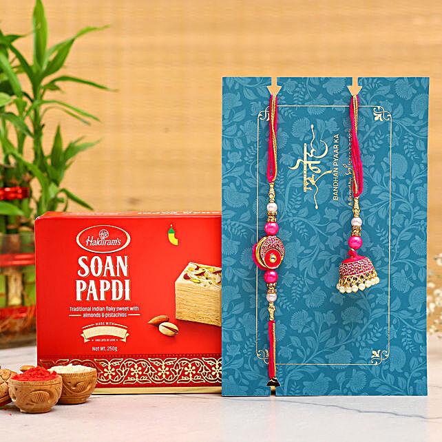 Meenakari Pearl Lumba Rakhi Set With Soan Papdi:Send Ethnic Rakhi to Singapore
