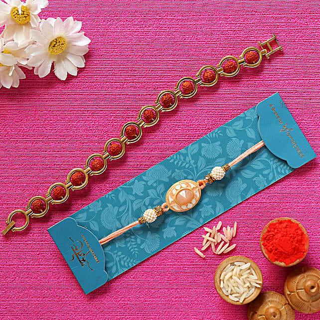 Peach Stone & Rudraksha Bracelet Rakhis:Set of 2 Rakhi to Singapore