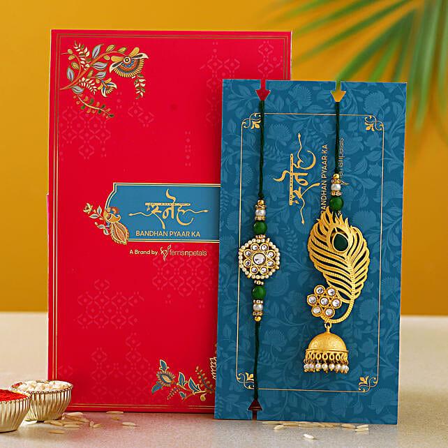 Peacock Feather Jhumki Style Lumba Rakhi Set