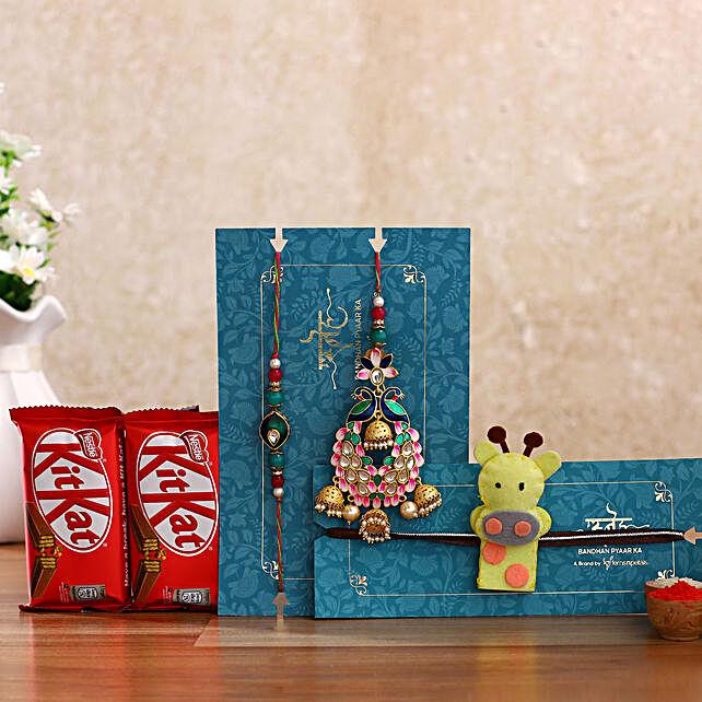 Peacock Lumba Rakhi Set & Kids Rakhi With Kitkat