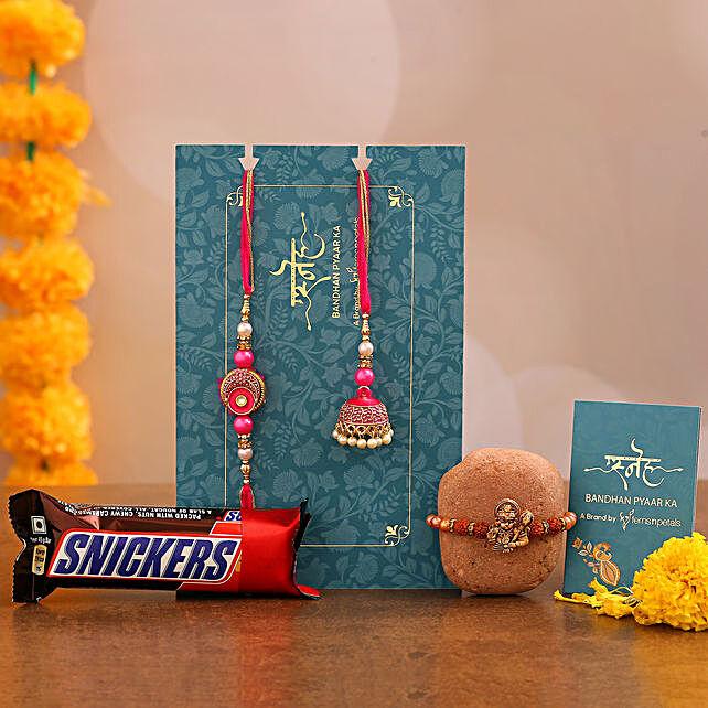 Pink Lumba Rakhi Set & Rudraksha Rakhi With Snickers