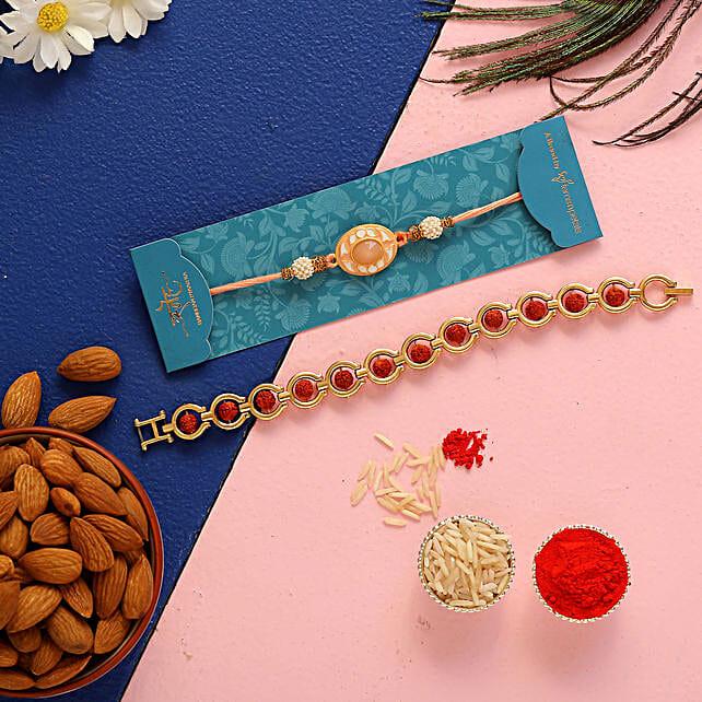 Rudraksha & Peach Stone Rakhis With Almonds
