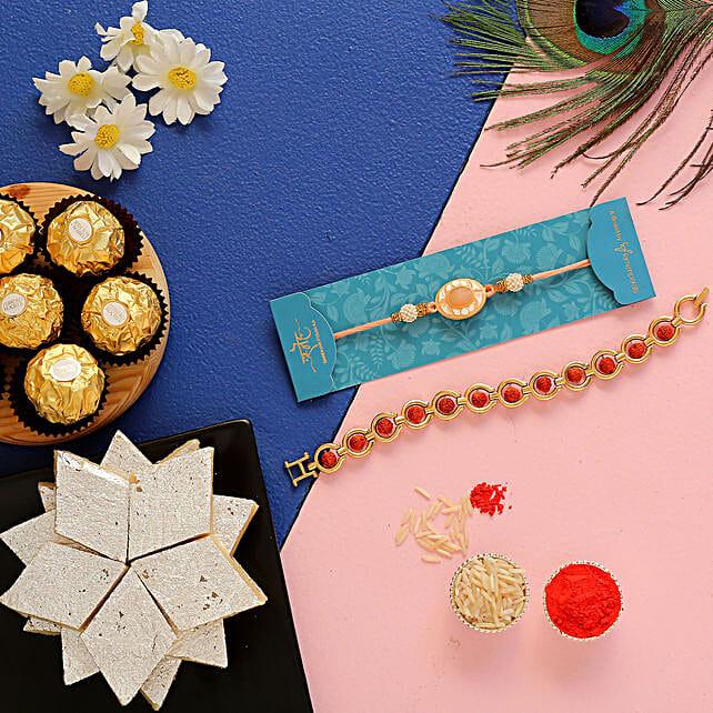 Rudraksha & Peach Stone Rakhis With Ferrero Rocher
