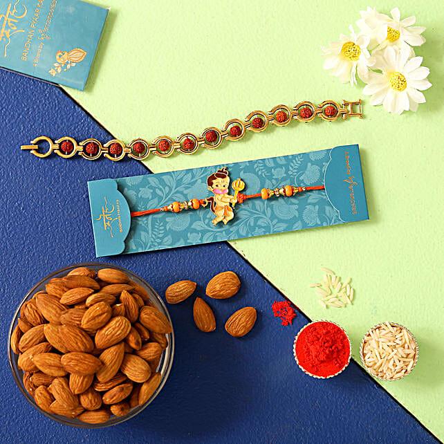 Rudraksha Rakhi & Kids Rakhi With Almonds