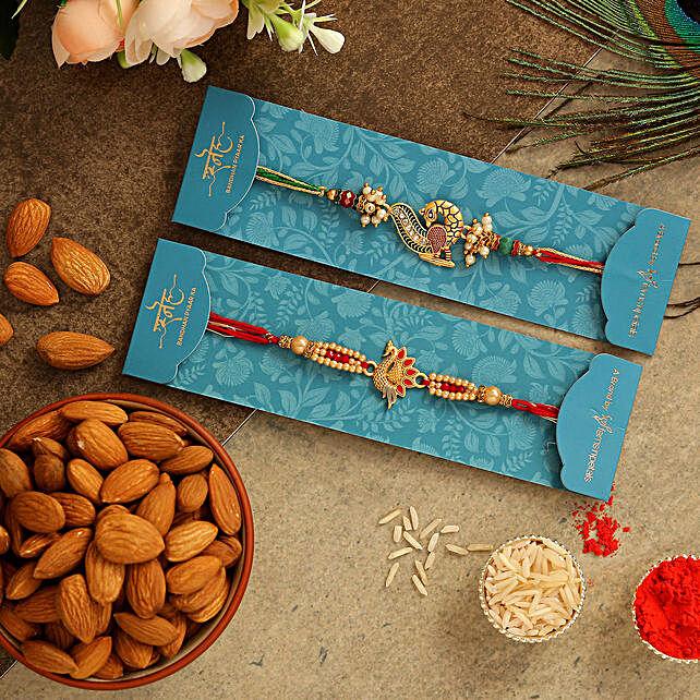Set Of 2 Peacock Rakhis & Healthy Almonds