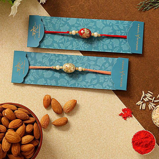 Set Of 2 Traditional Stone Rakhis & Almonds:Set of 2 Rakhi to Singapore