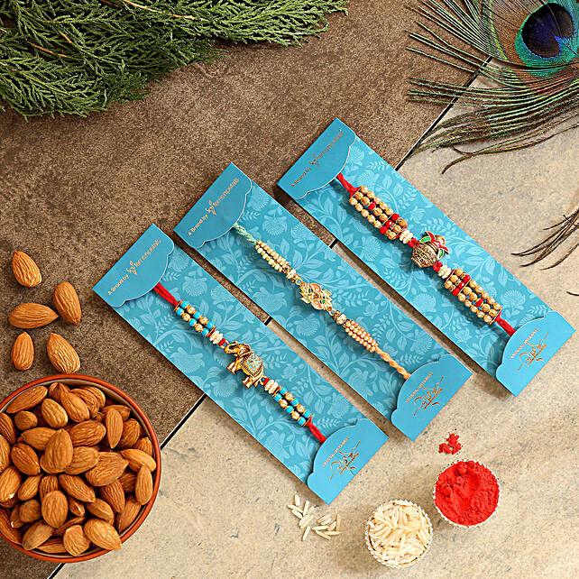 Set Of 3 Designer Rakhis & Healthy Almonds